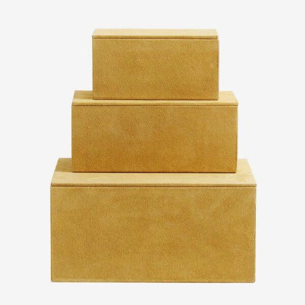 BOX Sæt/3, Gul, suede læder