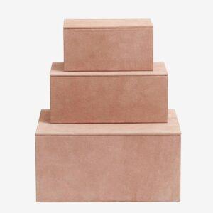 BOX Sæt/3, rose, suede læder