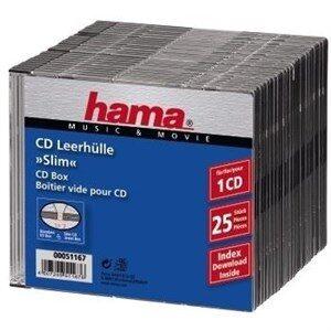CD Slim Box, black, pack of 25 pcs 1 diske Sort