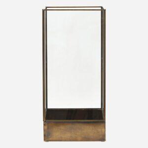 Display box, Plant, Antique brass - l: 21 cm, w: 21 cm, h: 45 cm