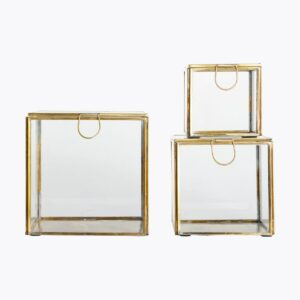 Storage boxes, Brass, Brass, Set of 3 sizes