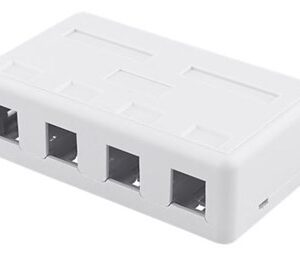 Surface mount box for Keystone, 4 ports, white