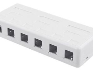 Surface mount box for Keystone, 6 ports, white