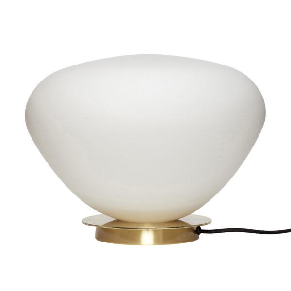 HÜBSCH bordlampe - hvid glas m. messingfod