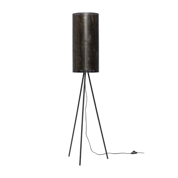 HÜBSCH gulvlampe - sort/messing, metal/glas
