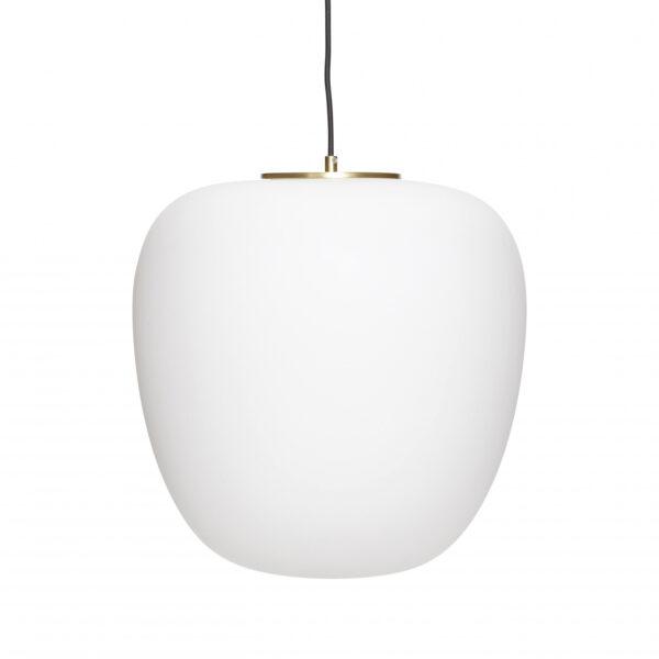 HÜBSCH loftlampe - hvidt glas og messing (Ø 40)