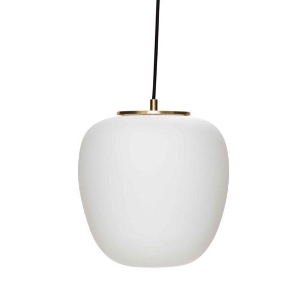 HÜBSCH loftlampe - hvidt glas og messing