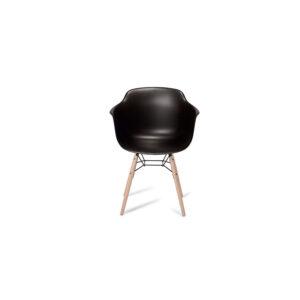 Jupiter spisebordsstol - sort/natur PVC/træ, m. armlæn