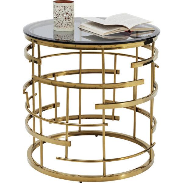 KARE DESIGN Jupiter hjørnebord - hærdet glas/guld stål, rund (Ø55)