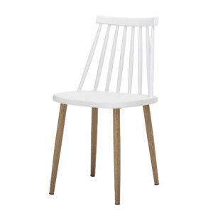 BLOOMINGVILLE Bajo spisebordsstol - hvid plastik og metal/træ ben