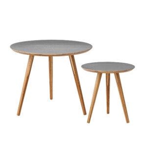BLOOMINGVILLE Cortado sofabord - grå/natur bambus, rund (sæt á 2)