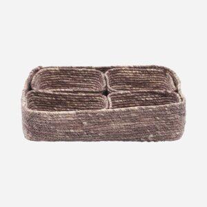 Basket, Guna, Red/Brown, Set of 5 pcs