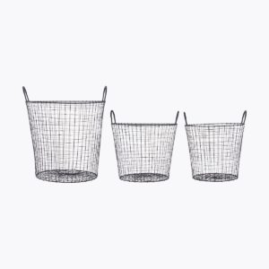 Baskets, Wire, Black, Set of 3 sizes