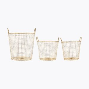 Baskets, Wire, Brass, Set of 3 sizes
