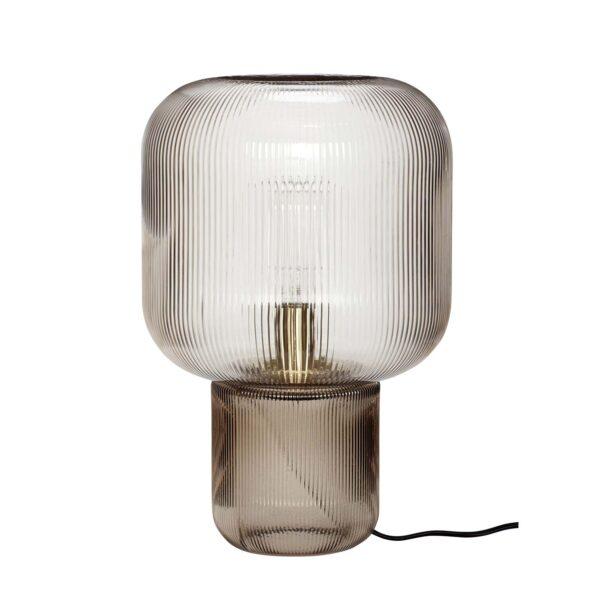 HÜBSCH rund bordlampe - røget glas (Ø27)