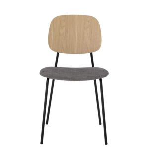 BLOOMINGVILLE Corte spisebordsstol - natur krydsfiner, grå polyester og metal
