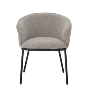 BLOOMINGVILLE Cortone spisebordsstol, m. armlæn - grå polyester og sort metal
